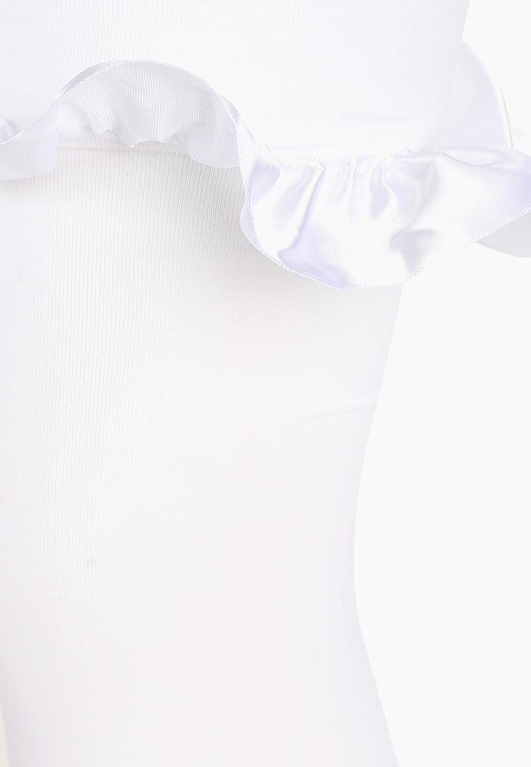 Чулки Le Frivole плотные с атласными бантами белые S/M