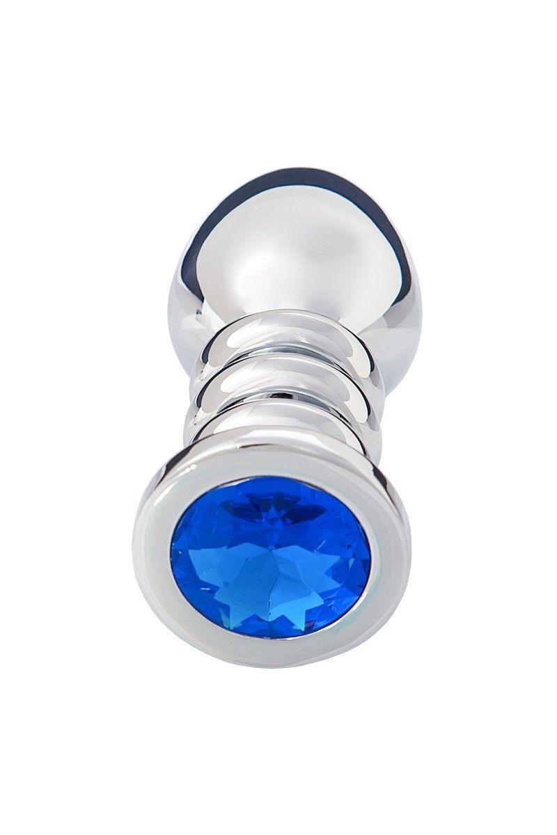 Анальная втулка большая, серебристая, с синим кристаллом