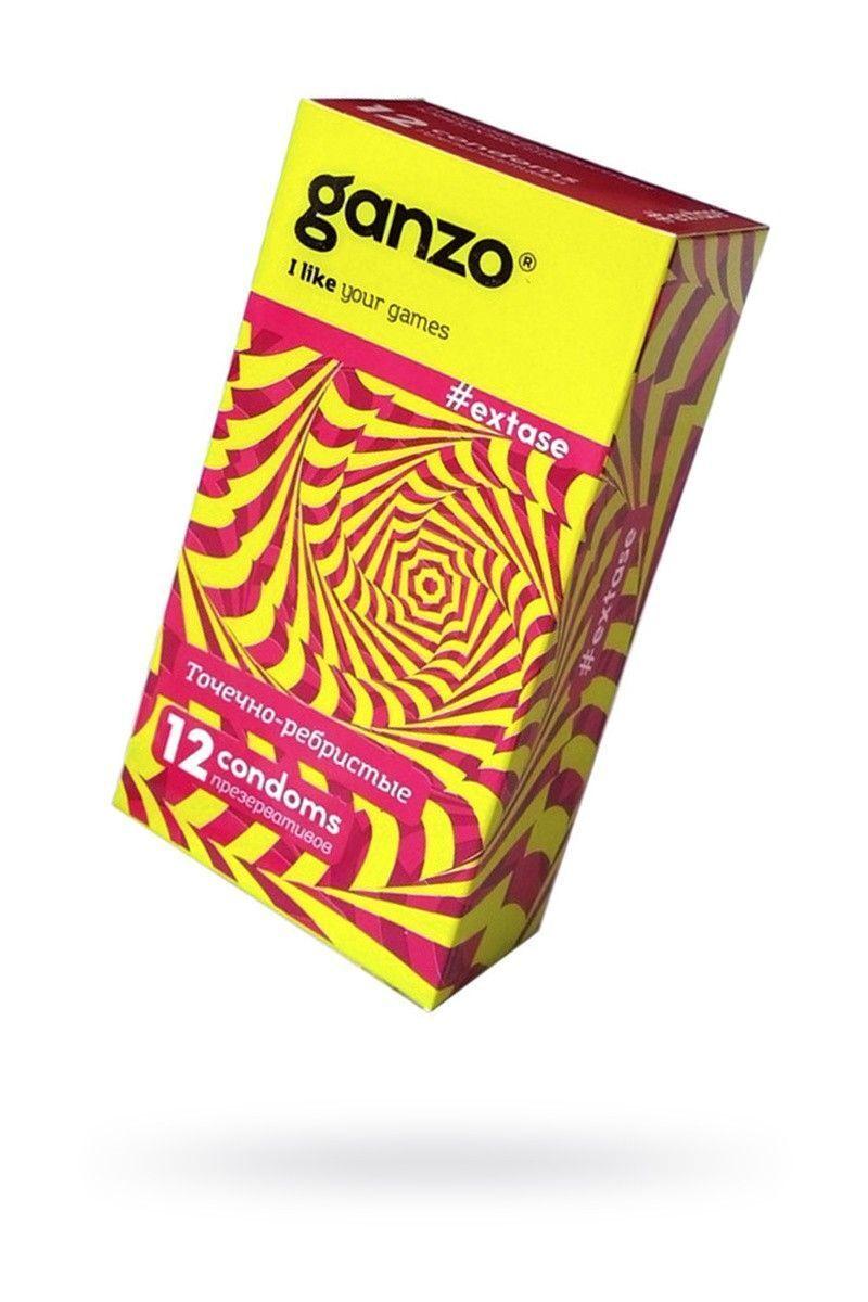 Презервативы Ganzo Extase № 12 Точечные и ребристые, анатомической формы ШТ