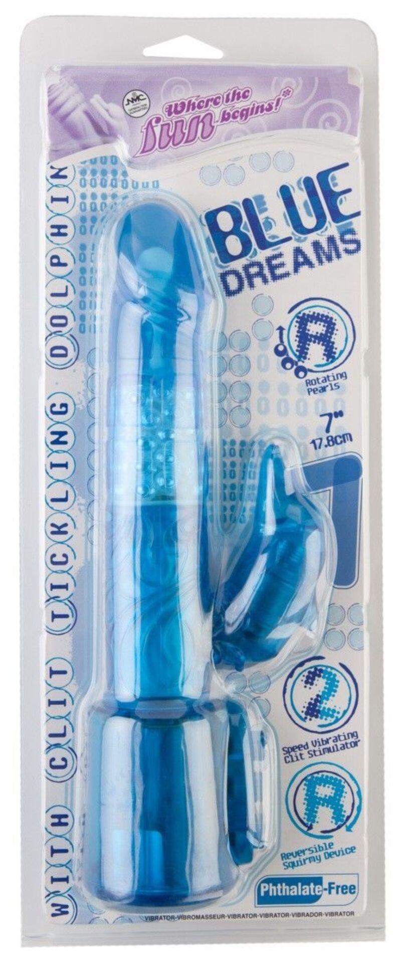 Вибратор NMC Blue Dream с клиторальным стимулятором в форме «дельфина», многофункциональный, с ротацией, 17,8 см