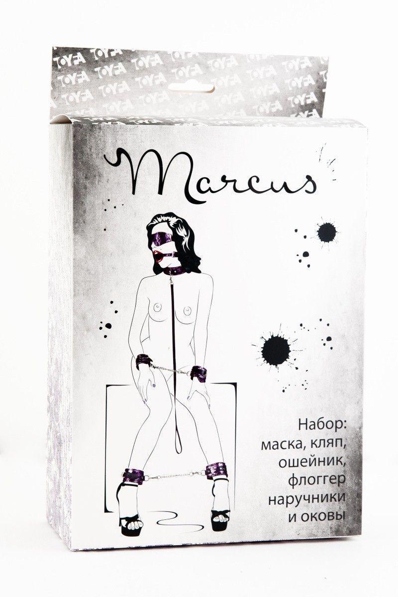 Кружевной наборTOYFA Marcus  пурпурный : маска, наручники, оковы, ошейник, флоггер, кляп