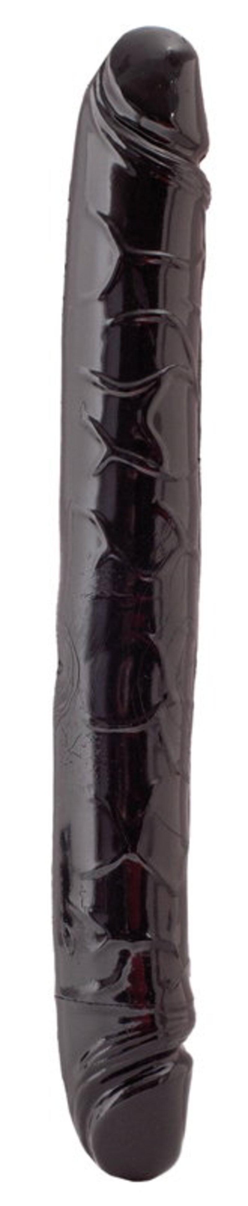 Двусторонний фаллоимитатор TOYFA Black&Red, ПВХ, Чёрный, 31 см