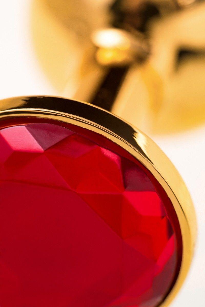 Анальная втулка TOYFA Metal маленькая, золотая, с рубиновым кристаллом