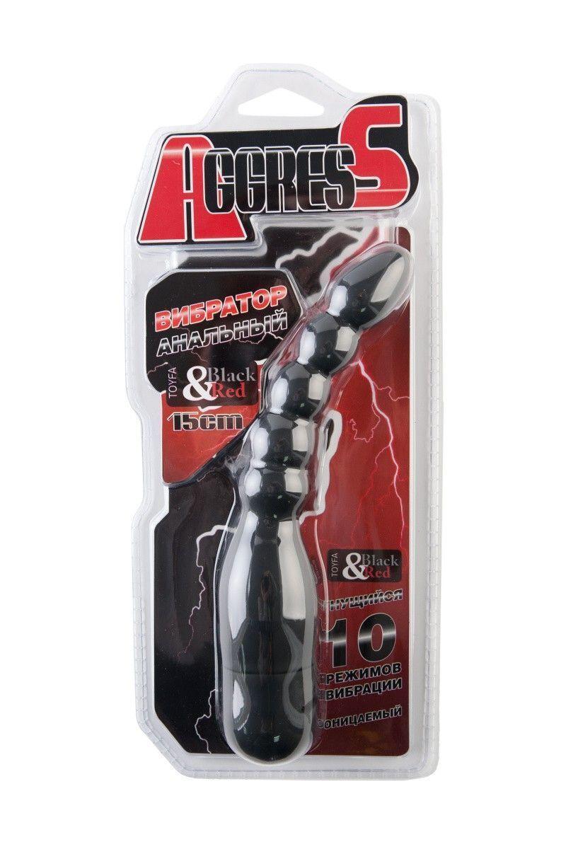Вибратор анальный TOYFA Black&Red, 10 режимов вибрации, силиконовый, чёрный, 15,2 см