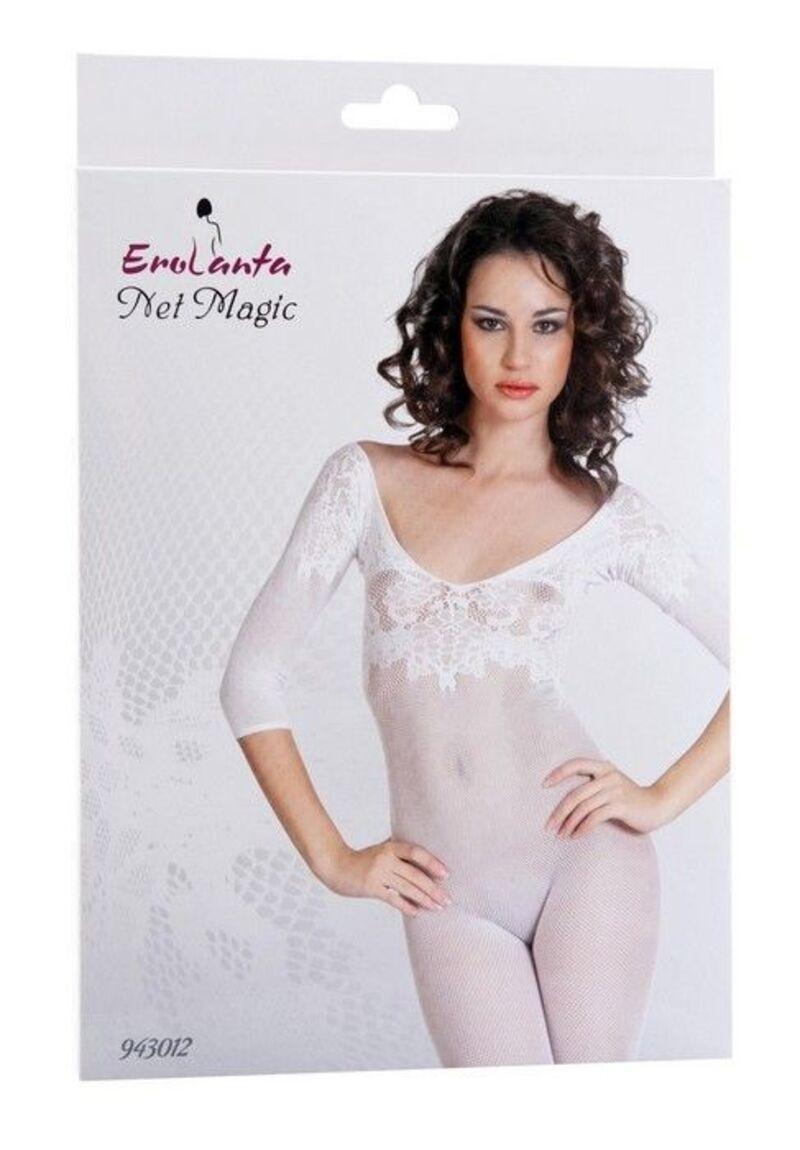 Костюм-сетка Erolanta Net Magic бесшовный с рукавами, с цветочным рисунком, белый, S/L