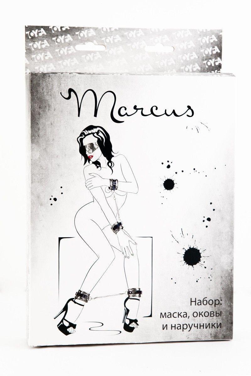 Кружевной набор TOYFA Marcus серебристый: наручники, оковы и маска
