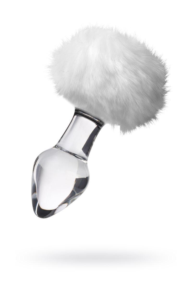 Анальная втулка Sexus Glass, Стекло, с белым хвостиком, 9,5 см, Ø4 см