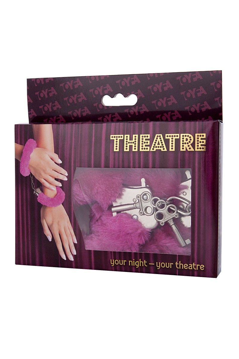 Наручники TOYFA Theatre, меховые, розовые, 28 см.