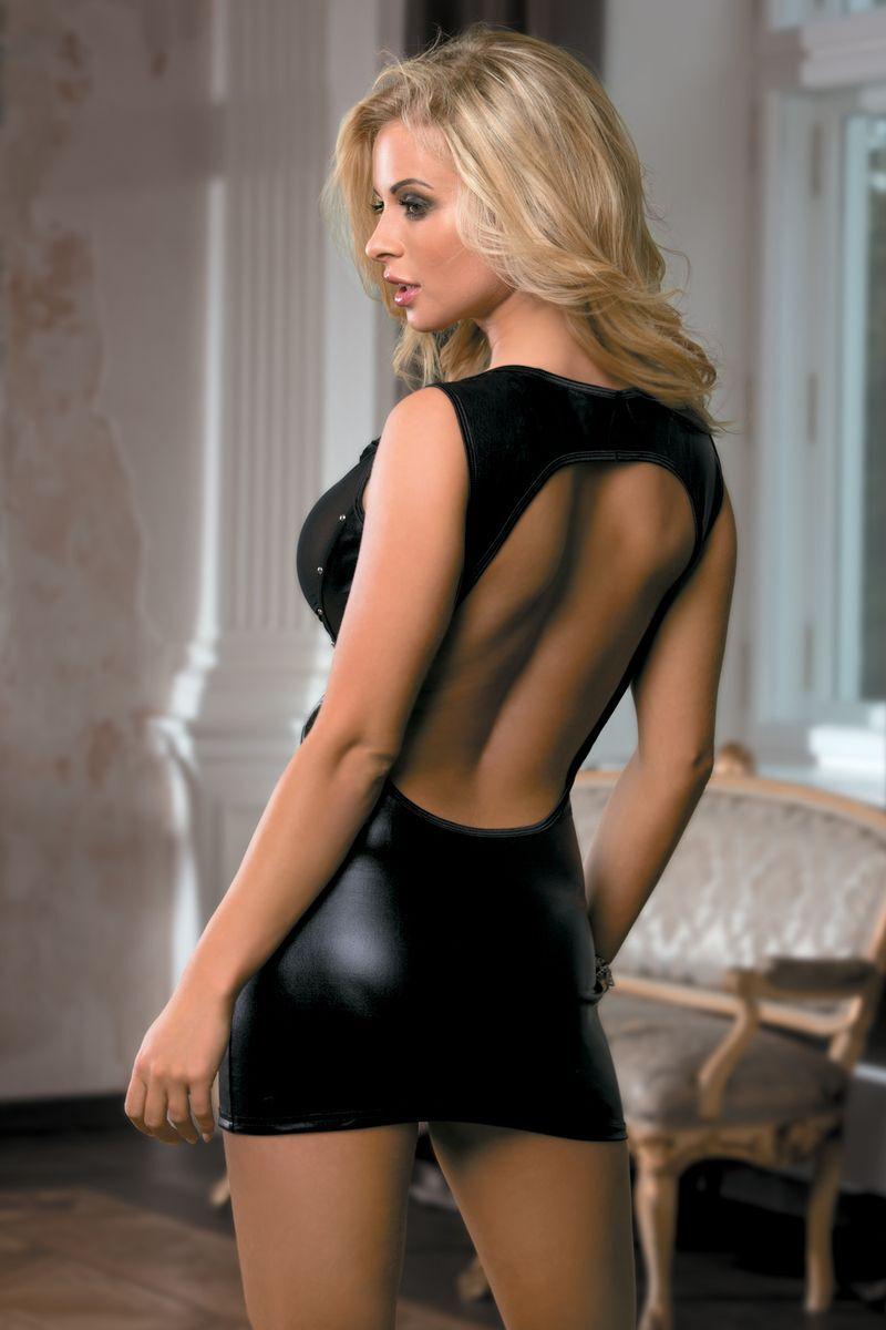 Платье Candy Girl с открытой спиной, wetlook, черное, OS