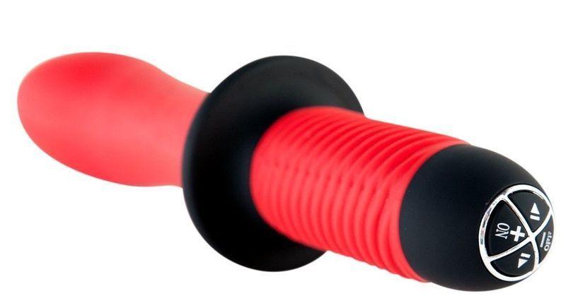 Вибратор TOYFA Black&Red с двойным мотором, силиконовый, красный, 15 см, Ø5 см