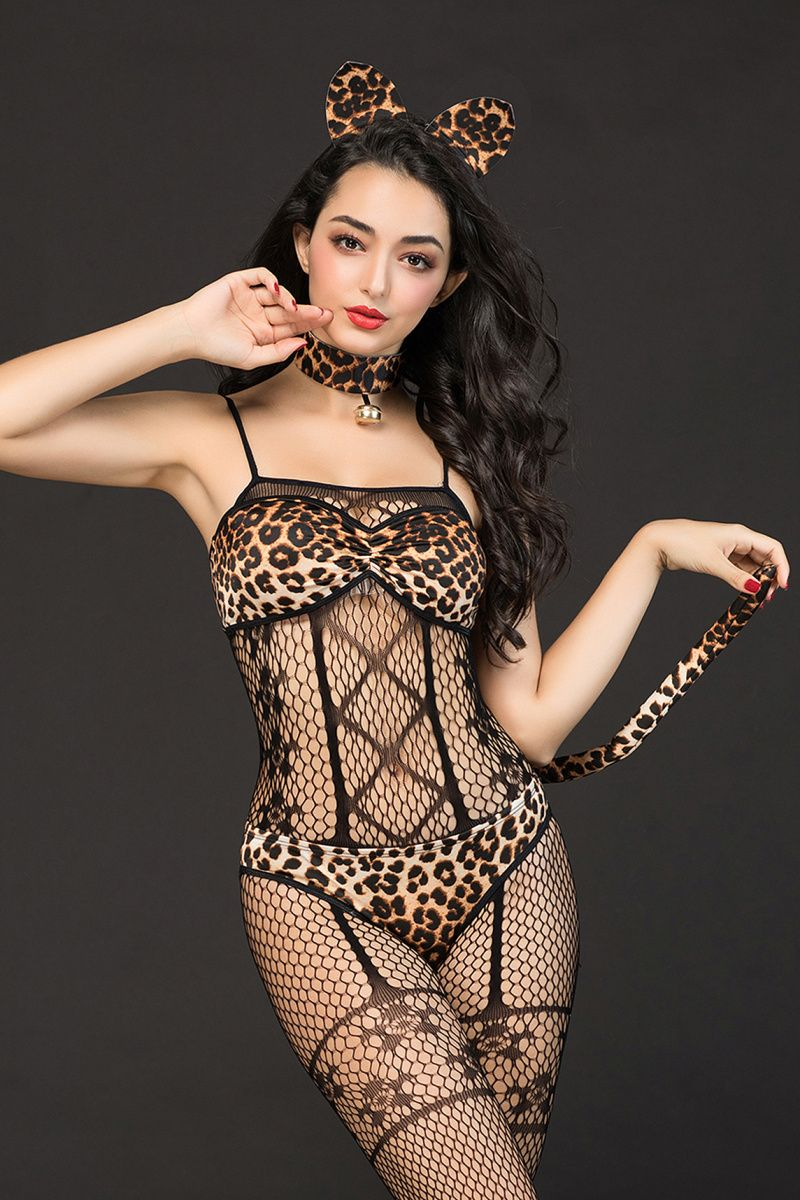Костюм кошки Candy Girl Kandi (костюм-сетка, топ, трусы с хвостом, чокер, головной убор) черно-леопардовый, XL