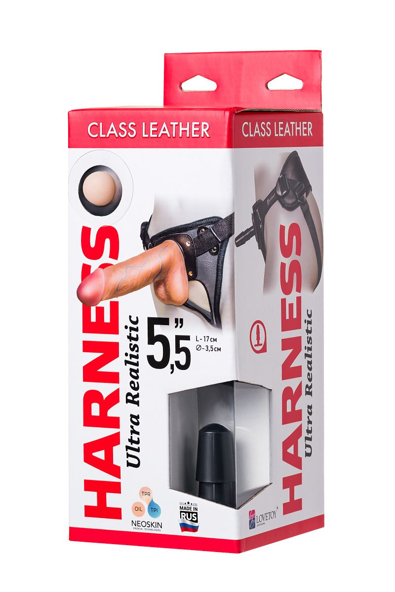 Страпон на креплении LoveToy с поясом Harness, реалистичный, neoskin, 17 см
