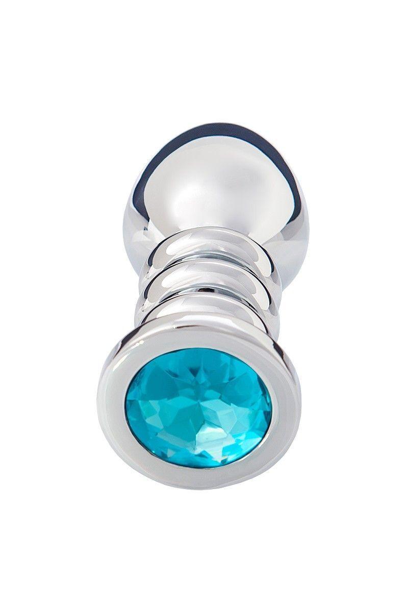 Анальная втулка, большая, серебристая, с голубым кристаллом