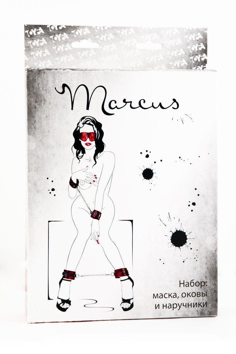 Кружевной набор TOYFA Marcus: красный наручники, оковы и маска