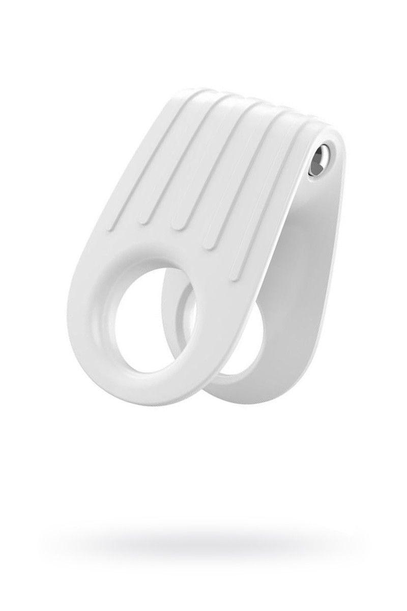 Эрекционное кольцо OVO двойное, инновационной формы с вибрацией, силиконовое, белое