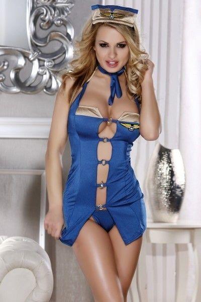 Костюм стюардессы Candy Girl (платье, стринги, головной убор), голубой, OS