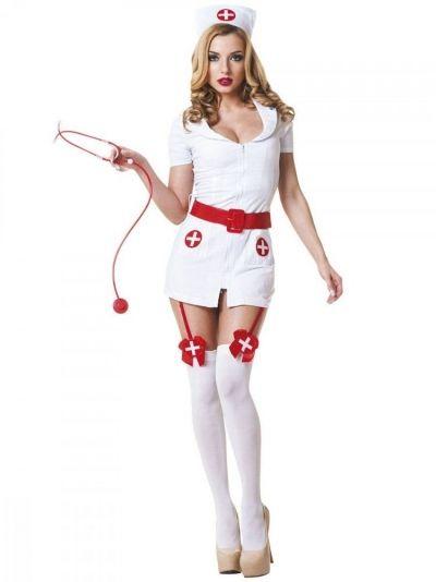 Костюм Похотливая медсестра Le Frivole бело-красный S/M