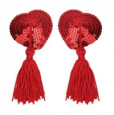 Пэстисы наклейки на грудь в форме сердечек красные