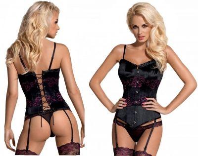 Корсет и стринги Amarone corset Obsessive черный L/XL