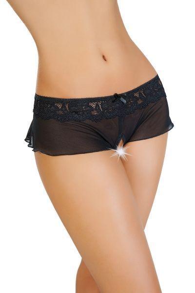 Эротические трусики-юбочка Erolanta Lingerie Collection из стрейч-сетки, черные (54-56)