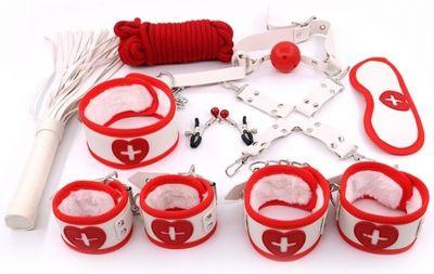 Набор: наручники, оковы, маска, кляп, плеть,ошейник с поводком, верёвка, фиксатор, зажимы для сосков