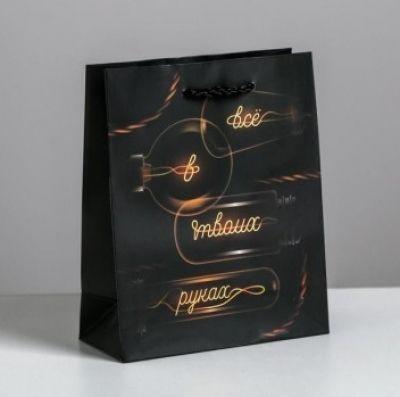 Подарочный пакет  Все в твоих руках  12х15х5,5 см