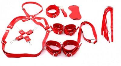 Набор: наручники, оковы, маска, кляп-рамка, плеть,ошейник с поводком, фиксатор, портупея