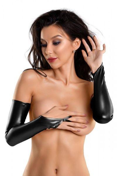 Перчатки-митенки Glossy выше локтя черные M