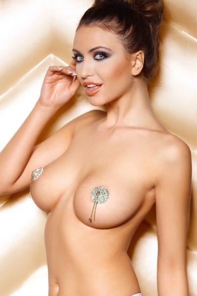 Наклейки на соски (пэстис) Anais Pearl круглые, со стразами и цепочками, металлические, серебристый