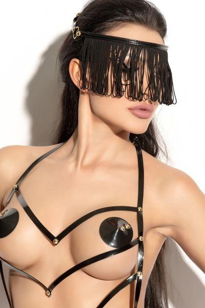 Украшение на голову Me Seduce Queen of hearts с длинной бахромой, черное, OS