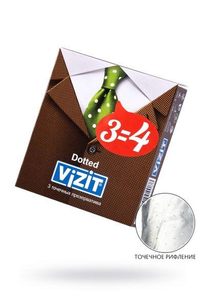 Презервативы VIZIT Dotted Точечные3 шт, латекс, 18 см