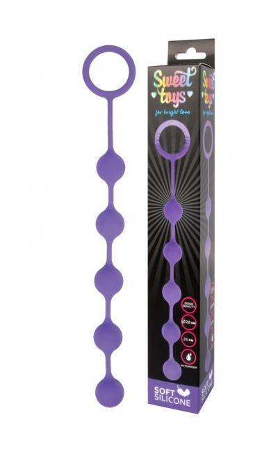 Анальная цепочка Sweet Toys фиолетовая 23 см