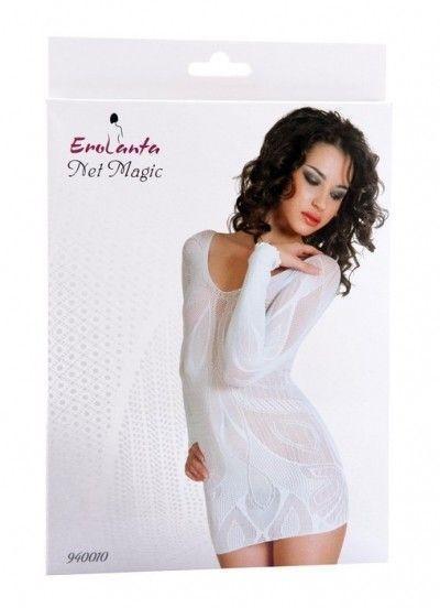 Платье Erolanta Net Magic бесшовное с рукавами, с цветочным рисунком, белое, S/L