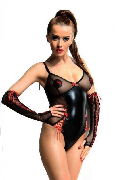 Боди и перчатки Hannah Demoniq черные S/M