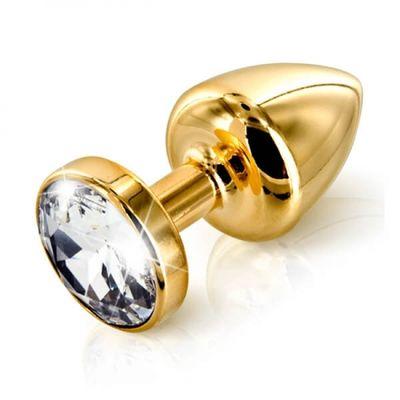 Анальная втулка с кристаллом Small Gold прозрачный 7 см