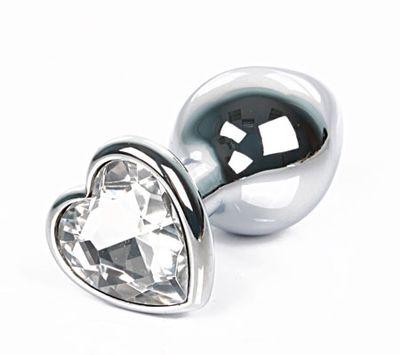 Анальная втулка с кристаллом сердце Small прозрачный 7 см