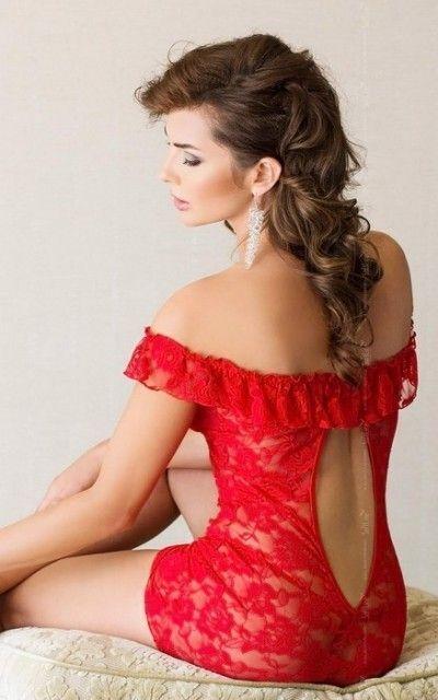 Комбинация и стринги SoftLine Collection Veronica, красный, S/M