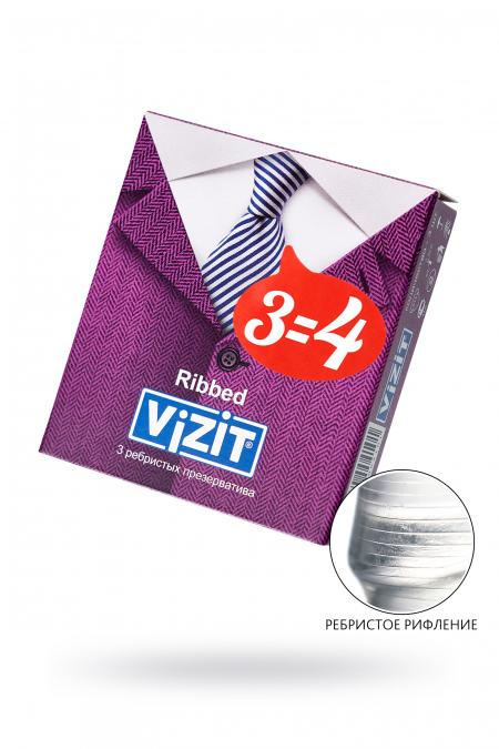 Презервативы VIZIT Ribbed Ребристые 3 шт, латекс, 18 см