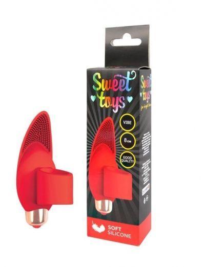 Насадка на палец с вибрацией Sweet Toys красная 8 см