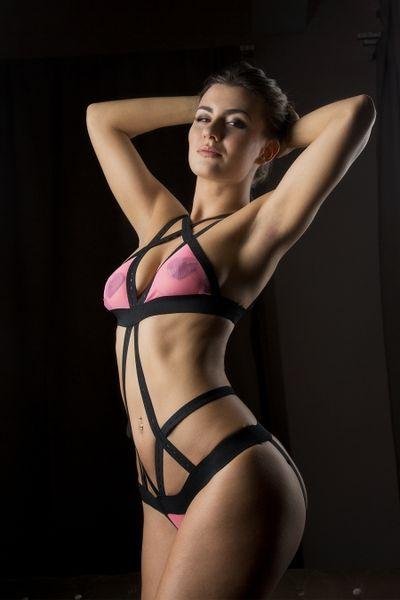 Боди MENSDREAMS Розовая кокетка, черно-розовое, 48-54