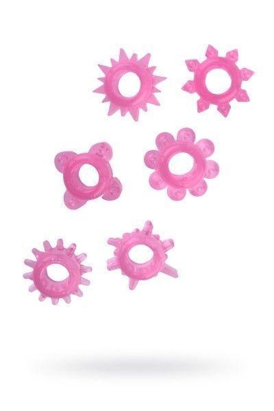 Набор колец на пенис 6 шт TOYFA, TPE, розовый