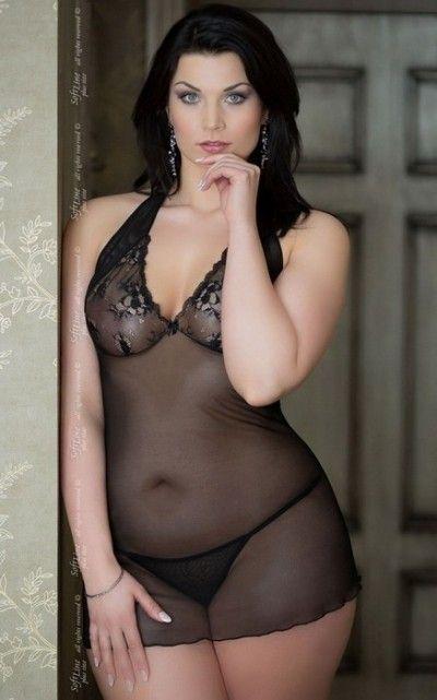 Ночная сорочка SoftLine Collection Marylin и стринги, черные, XXXL