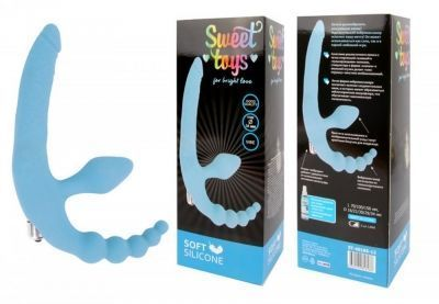 Страпон двойной Sweet toys голубой 34 см