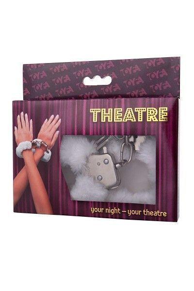 Наручники TOYFA Theatre, меховые, белые, 28 см.