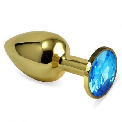 Анальная втулка с кристаллом Small Gold голубой 7 см