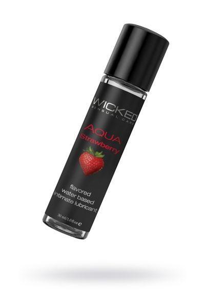 Лубрикант WICKED AQUA Strawberry со вкусом сочной клубники 30 ml