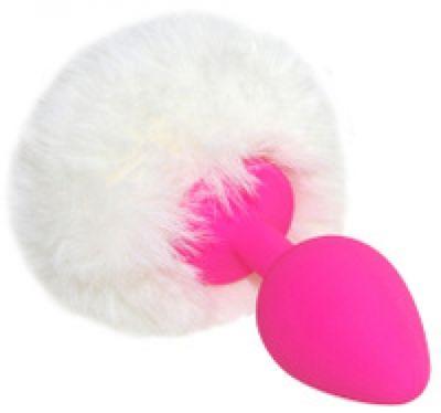 Анальная втулка розовая с заячим хвостом Medium 8,5 см