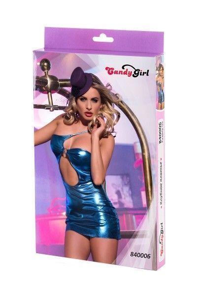 Клубное платье Candy Girl с ассиметричным вырезом, синее, OS