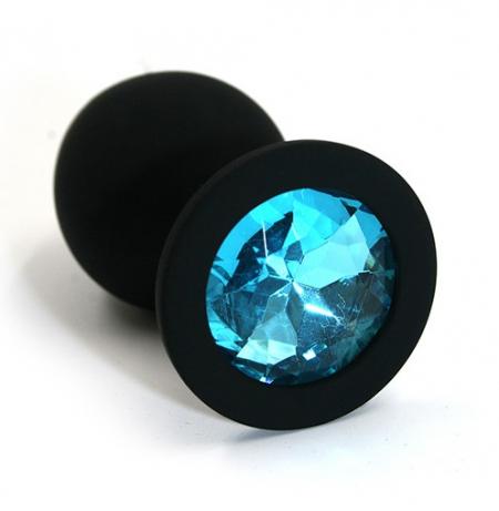 Анальная втулка черная с кристаллом Medium голубой 8 см