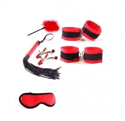 Набор: наручники, оковы, плеть, щекоталка, зажимы для сосков, маска красный